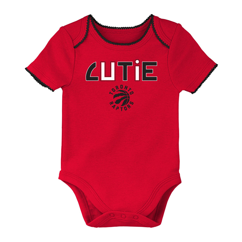 size 40 08bab c3782 Toronto Raptors Newborn Girls 3rd Quarter 3-Piece Creeper Set by Outerstuff