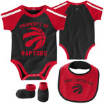 Toronto Raptors Newborn Rebound Creeper, Bib & Booties Set by Outerstuff