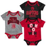 Toronto Raptors Newborn Little Fan 3-Piece Creeper Set by Outerstuff