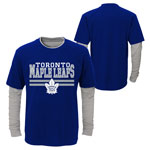 Toronto Maple Leafs Youth Defensive Pair Faux Layer Long Sleeve T-Shirt by Outerstuff