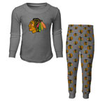 Chicago Blackhawks Youth Long Sleeve T-Shirt & Pants Sleep Set - Grey by Outerstuff