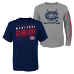 Montreal Canadiens Youth Binary 2-in-1 Long Sleeve/Short Sleeve T-Shirt Set by Outerstuff