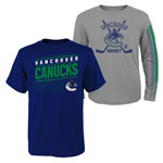 Vancouver Canucks Youth Binary 2-in-1 Long Sleeve/Short Sleeve T-Shirt Set by Outerstuff