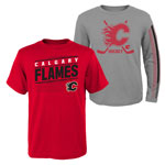 Calgary Flames Youth Binary 2-in-1 Long Sleeve/Short Sleeve T-Shirt Set by Outerstuff