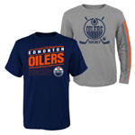 Edmonton Oilers Youth Binary 2-in-1 Long Sleeve/Short Sleeve T-Shirt Set by Outerstuff