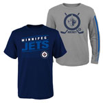 Winnipeg Jets Youth Binary 2-in-1 Long Sleeve/Short Sleeve T-Shirt Set by Outerstuff