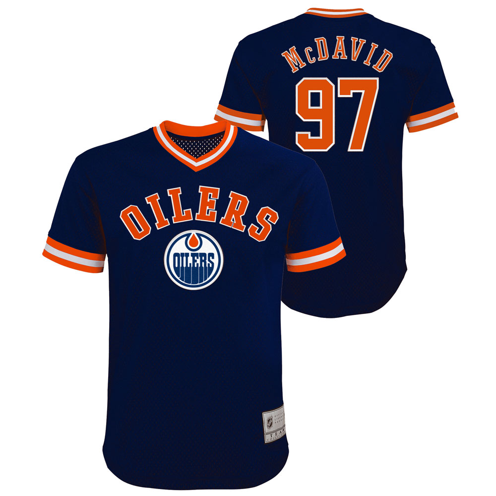 Connor McDavid Edmonton Oilers Youth Name and Number Fashion V-Neck Mesh Jersey Top by Outerstuff