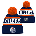 Edmonton Oilers Youth Wordmark Jacquard Cuffed Knit Hat by Outerstuff
