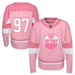 Connor McDavid Edmonton Oilers Youth Girls Pink Fashion Jersey by Outerstuff