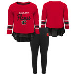 Calgary Flames Toddler Girls Show Off Long Sleeve Top and Leggings Set by Outerstuff