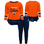 Edmonton Oilers Toddler Girls Show Off Long Sleeve Top and Leggings Set by Outerstuff