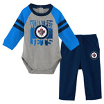 Winnipeg Jets Infant Puck Pals Long Sleeve Creeper, and Pant Set by Outerstuff