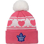 Toronto Maple Leafs Infant Girls Pink Hockey Hearts Cuffed Knit Hat by Outerstuff