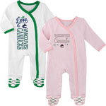 Vancouver Canucks Newborn Girls 2nd Period 2-Piece Long Sleeve Coverall Set by Outerstuff