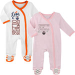 Edmonton Oilers Newborn Girls 2nd Period 2-Piece Long Sleeve Coverall Set by Outerstuff