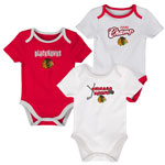 Chicago Blackhawks Newborn 3rd Period 3-Piece Creeper Set by Outerstuff