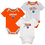Edmonton Oilers Newborn 3rd Period 3-Piece Creeper Set by Outerstuff