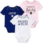 Toronto Maple Leafs Newborn Girls 3rd Period 3-Piece Creeper Set by Outerstuff