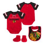 Chicago Blackhawks Newborn Little D-Man Creeper, Bib & Booties Set by Outerstuff