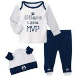 Edmonton Oilers Newborn Little MVP Long Sleeve Shirt, Pant, and Hat Set by Outerstuff