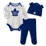 Toronto Maple Leafs Newborn Team Fanatic Long Sleeve Creeper, Pant, and Hat Set by Outerstuff