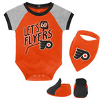 Philadelphia Flyers Newborn Let's Go Team Creeper, Bib & Booties Set by Outerstuff