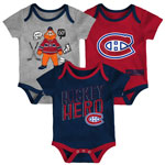 Montreal Canadiens Newborn Triple Clapper 3-Piece Creeper Set by Outerstuff