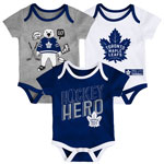 Toronto Maple Leafs Newborn Triple Clapper 3-Piece Creeper Set by Outerstuff