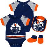 Edmonton Oilers Newborn Blocker Creeper, Bib & Booties Set by Outerstuff