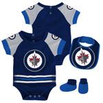 Winnipeg Jets Newborn Blocker Creeper, Bib & Booties Set by Outerstuff