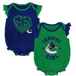 Vancouver Canucks Newborn Girls Hockey Kids 2-Pack Creeper Set by Outerstuff