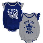 Toronto Maple Leafs Newborn Girls Hockey Kids 2-Pack Creeper Set by Outerstuff