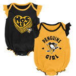 Pittsburgh Penguins Newborn Girls Hockey Kids 2-Pack Creeper Set by Outerstuff