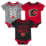 Calgary Flames Newborn Five On Three 3-Piece Creeper Set by Outerstuff
