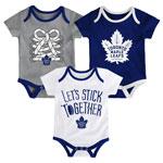 Toronto Maple Leafs Newborn Five On Three 3-Piece Creeper Set by Outerstuff
