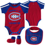 Montreal Canadiens Newborn Hard At Play Creeper, Bib & Booties Set by Outerstuff