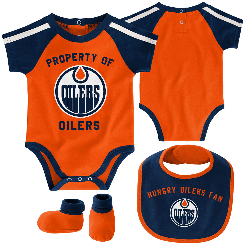 Bib /& Booties Set Edmonton Oilers Newborn Hard at Play Creeper