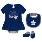 Toronto Maple Leafs Newborn Girls Rule The Rink Creeper, Bib & Booties Set by Outerstuff