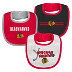 Chicago Blackhawks Newborn Fair Shot 3-Pack Bib Set by Outerstuff