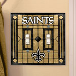 New Orleans Saints Double Art Glass Light Switch Plate Cover