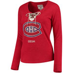 Montreal Canadiens Women's Vintage Henley Lace Up Long Sleeve T-Shirt by CCM