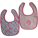 Toronto Maple Leafs Girls Pink 2-Piece Baby Bib Set by Mighty Mac