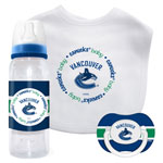 First Time Fan Vancouver Canucks Baby 3-Piece Pacifier, Bib & Bottle Gift Set