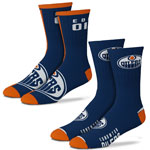 Edmonton Oilers Men's 2-Pack Team Crew Socks by For Bare Feet